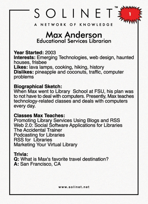 Trading Card of Max - Back